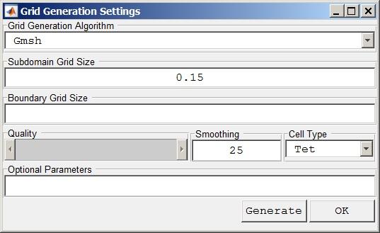 FEAtool 1.12 Grid Generation Settings dialog