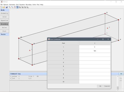 FEATool Multiphysics point constraint menu